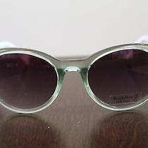 Simply Vera Wang Green Olive Color Sunglasses With Fun Purple Pattern Photo