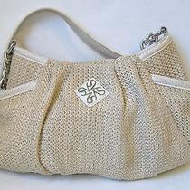 Simply Vera Wang Hobo Purse Beige Off White Knit Shoulder Bag Handbag Tote Lined Photo