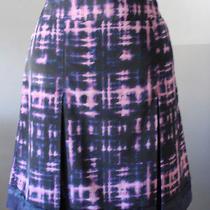 Simply Vera Wang Indigo Blue Purple Tie Dye Pleated Skirt Embellished Hem Size 6 Photo