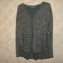 Simply Vera Wang L/s Button Down Knit Top Sz L Blk/gray B 44/46 L 28  546u Photo