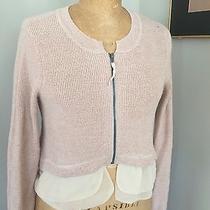Simply Vera Wang Lurex Cardigan Cropped Baby Pink-Zip-Chifffon Trim  Size Small Photo