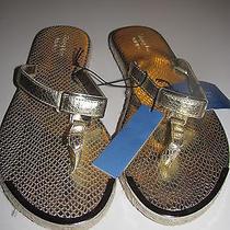 Simply Vera Wang New Sz M (7-8) Flat Gold Thong Espadrille Sandals Flip Flops Photo