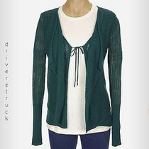 Simply Vera Wang New X-Small Tuscan Teal Pointelle Sweater Open Front With Tie Photo