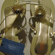 Simply Vera Wang New Xlarge 11 Tan W/ Gold Flower Thong Slipper Wedge Sandals Photo