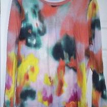 Simply Vera Wang Petite L 100% Cotton Multi Color Water Color Long Sleeve Shirt Photo