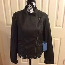 Simply Vera Wang Pure Night Black Bike Jacket Coat Tunic Blouse Top Photo