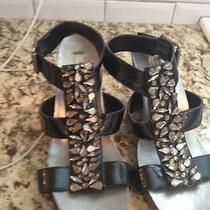 Simply Vera Wang Shiny Rhinestone Platform Wedge Sandal Shoesblacksize 8 Photo