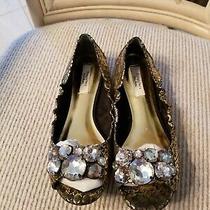 Simply Vera Wang Shoes Jeweled Gold Reptile Flats Size 8 Medium  Photo