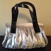 Simply Vera Wang Silver Metallic Fabric Purse Black Faux Patent Handles Roomy Photo