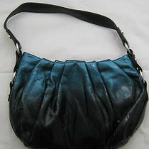 Simply Vera Wang Teal and Black Pleated Hobo Purse Faux Leather Photo
