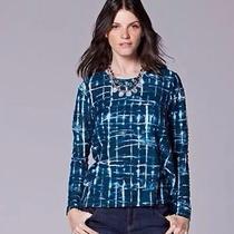 Simply Vera Wang Windy Jacquard Long Sleeve Shirt Top Women Clothes Size Medium Photo