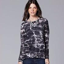 Simply Vera Wang Windy Jacquard Long Sleeve Shirt Top Women Clothes Size Medium Photo