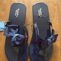 Simply Vera Wang Womens Flip Flop Sandals Size L 9-10 New Navy Msrp 24.00 Photo
