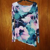 Simply Vera Wang Womens Size M Teal Pink Multi Print Drape Neck Shirt  Nwt 48 Photo