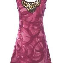 Simply Vera Wang Womens Xs -X-Small Pink Swirl Jeweled Neck Sleeveless Dress Photo