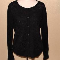Simply Vera Wang Xl Cardigan Sweater Black Metallic Thin Ln Photo