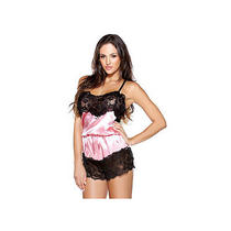 Sinful Satin Romper B438 Fantasy Lingerie Black/pink One Size Fits All Photo