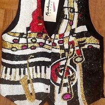 Singer Musician Piano Sax Blues Jazz Singer Fasion Fantasy Vest Sequined Sz 1 Lr Photo