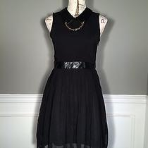 Sister Jane Chiffon Pleated Black Dress With Faux Leather and Stud Collar  Photo
