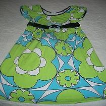 Sister Sam Lime/teal/white Mod/floral-Print Short-Sleeved Dress - Size 6x Photo