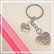 Sister Silver Keychain You Are Always in My Heart Gift of Love Photo