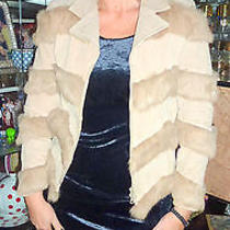 Sisters Designer Suede Jacket With Rabbit Fur Embellishment Photo
