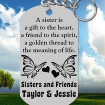 Sisters Keychain Gift With Names Personalized 4 Free Special Gift Photo