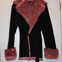 Sisters Outerwear Micro Suede Belted Faux Fur Coat Black & Pink  Size M Photo
