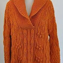 Sisters Xl Orange Chunky Shawl Neck Sweater Nubby Cable Knit  Photo