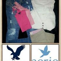 Six American Eagle Aerie Aeropostale Jeans Hoodie Mixed Lot Photo