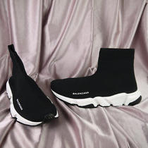 Size 10 Balenciaga Speed Trainer Knit Sock Shoes Black White 506363-W05g0-1000 Photo