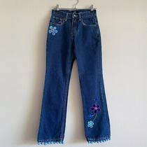 Size 10 Gap Girls Floral Flower Aplique Jeans Panta Photo
