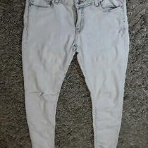 Size 10 Ladies Woman Girl Youth Stretch  Jeans  Denim & Co Skinny Off White Photo