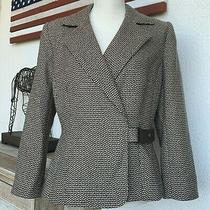 Size 10 Liz Claiborne Geometric Print Brown Tan Career Casual Jacket Blazer  Photo