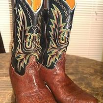Size 10 Men's Lucchese Elephant Skin Brown & Black Western Boots  Photo