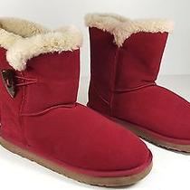 Size 10 Style & Co Tiny Short Deep Red Suede Fur Winter Boots Womens Shoes Photo