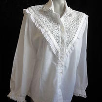 Size 12-14 Ladies  Teddi of Ca - White W/fancy Lace Blouse Ls W/lace  Photo
