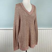 Size 1x Inc Womens Plus Metallic Rose Gold & Pink Sweater Top Shirt v Neck Nwt Photo