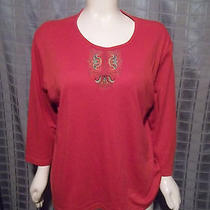 Size 24/26w Classic Element Orange Embroidery 3/4 Sleeve Top Chest 56