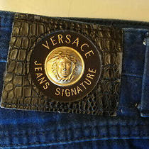 Size 26w 31l Versace Gold Head Medusa Navy Blue Jeans Photo