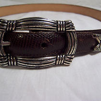 Size 28 Small Brighton Leather Belt 1995 Burgundy Brown Silver Tone Buckle Photo