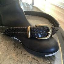 Size 34 Coach Black Leather Braided Belt With Gold Tone Buckle Photo