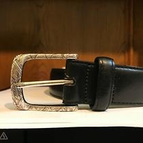 Size 38  Black Leather Belt by Brighton Photo