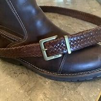 Size 38 Coach Brown Basket Weave Leather Belt With Brass Buckle Siz Photo
