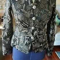 Size 4 Armani Collection Black Floral Printed Blazer Vine Detail White Lining Photo