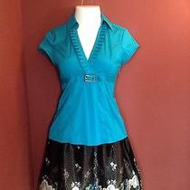 Size 4 Black Floral Silky Skirt  & Size Small Teal Short Sleeved Blouse Express Photo