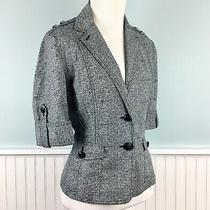 Size 4 Express 3/2 Sleeve Peplum Stretch Lightweight Blazer Jacket Womens Small Photo