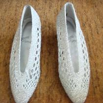 Size 5 Rush Hour Express Silver Mesh Low Heels New but Has Some Small Defect Photo