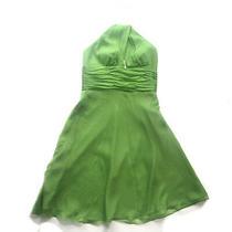 Size 6 - Laundry by Shelli Segal Women's Green Silk Halterneck Party Dress Photo