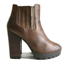 Size 7.5 - Steve Madden Gabriella Women's Brown Leather Block Heel Ankle Boots  Photo
